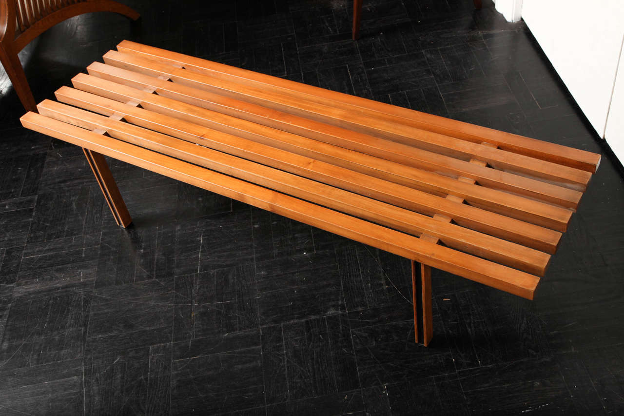 Mid 20th Century Slatted Bench At 1stdibs