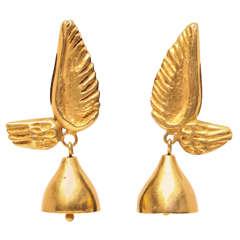 Pair of Line Vautrin Earrings in Gilt Bronze