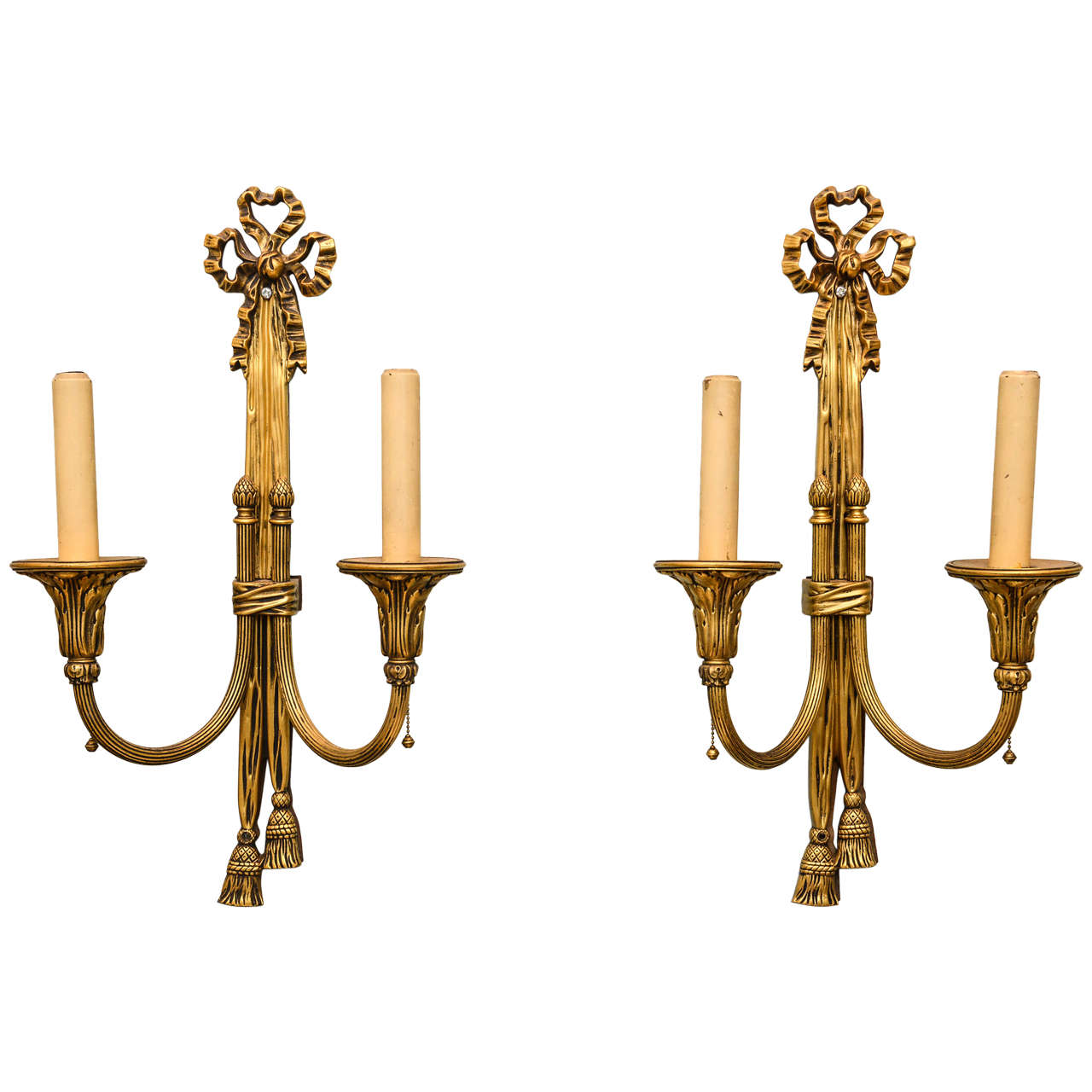 Set of Four Ribbon and Tassel Two Branch Sconces at 1stdibs