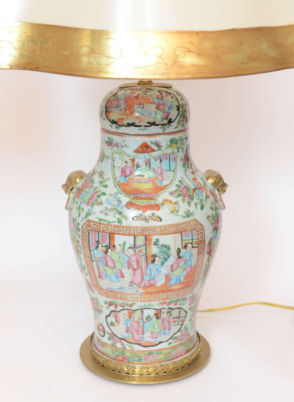 Pair Of Chinese Rose Medallion Covered Jar Lamps For Sale