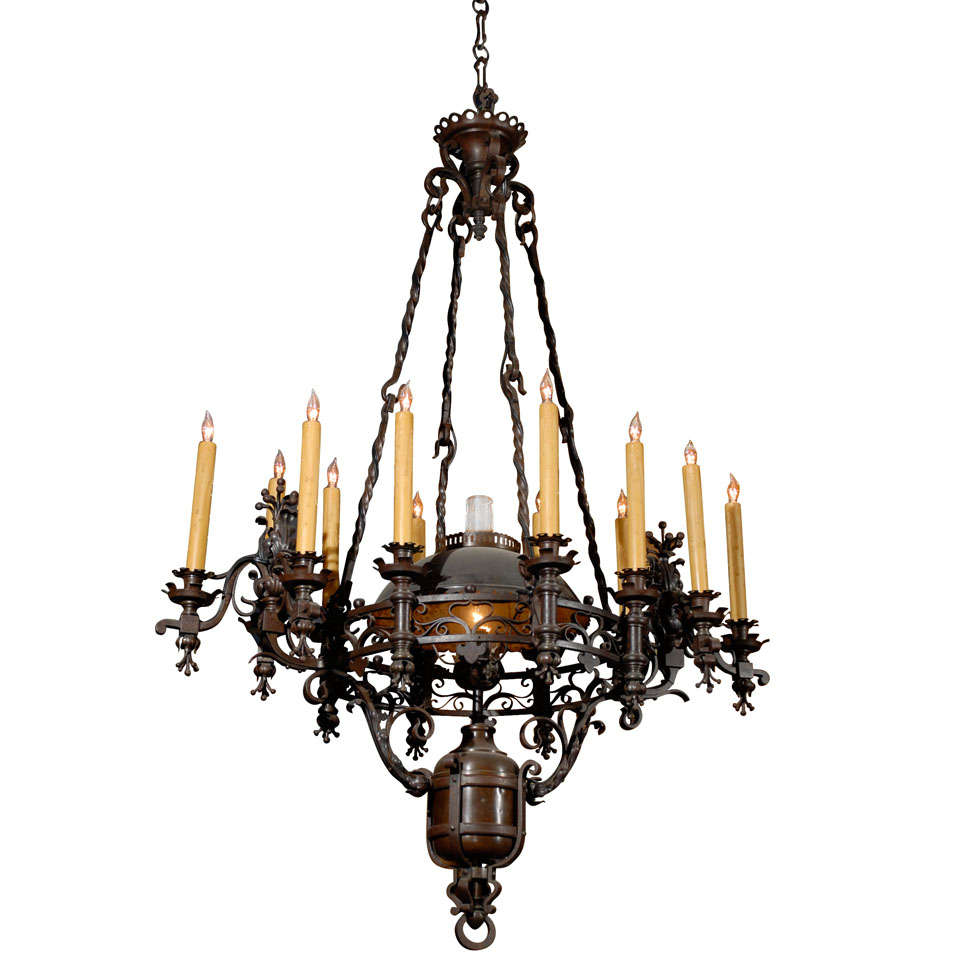 French 19th C Iron Country Chandelier At 1stdibs