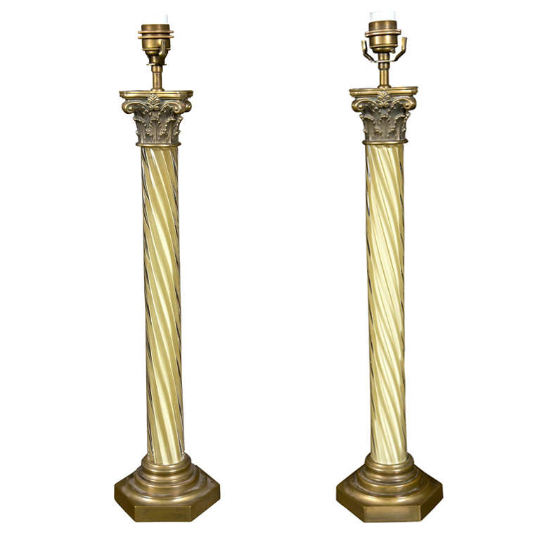 Pair Of Venetian Twisted Column Lamps