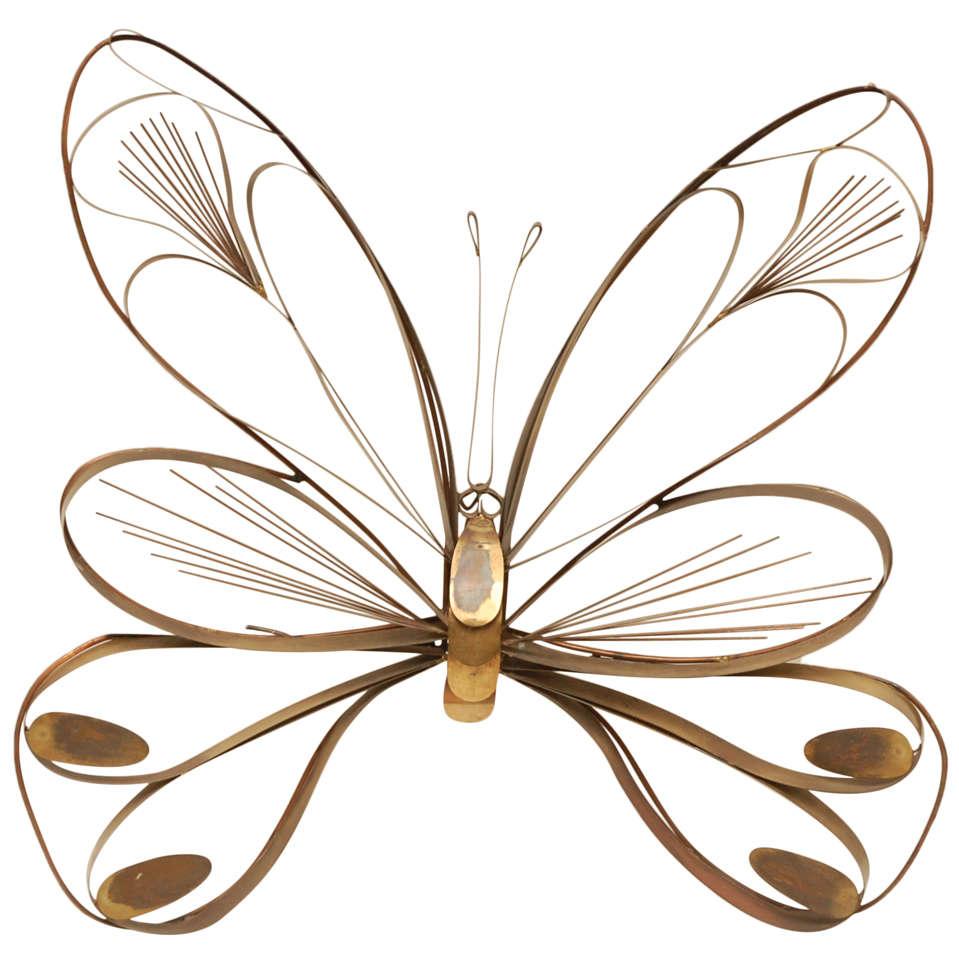 Curtis Jere Brass Butterfly Sculpture.