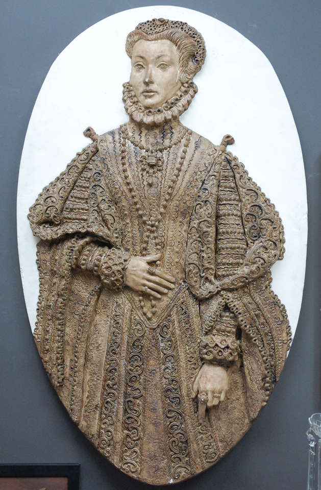 Plaster Relief Wall Sculpture Of Tudor Lady At 1stdibs