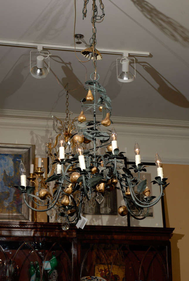 Vintage Italian Tole Chandelier with Gilt Fruit An Atlanta Resource for  Fine Antiques We have a - Vintage Italian Tole Chandelier With Gilt Fruit At 1stdibs