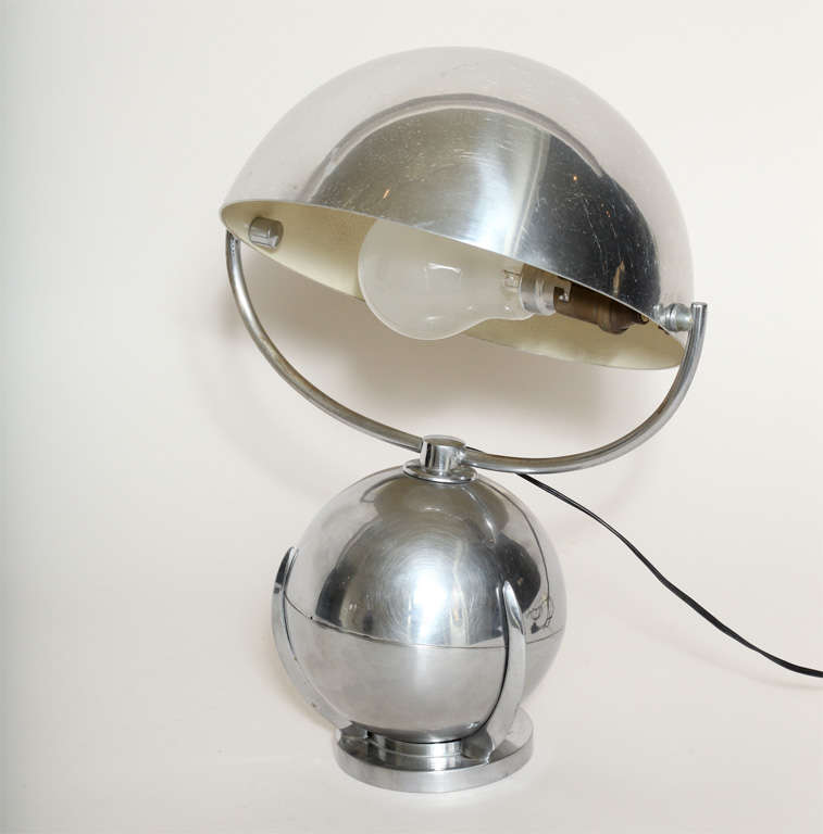 Felix aublet art deco boule nickelled metal desk lamp at for Boule metal deco jardin
