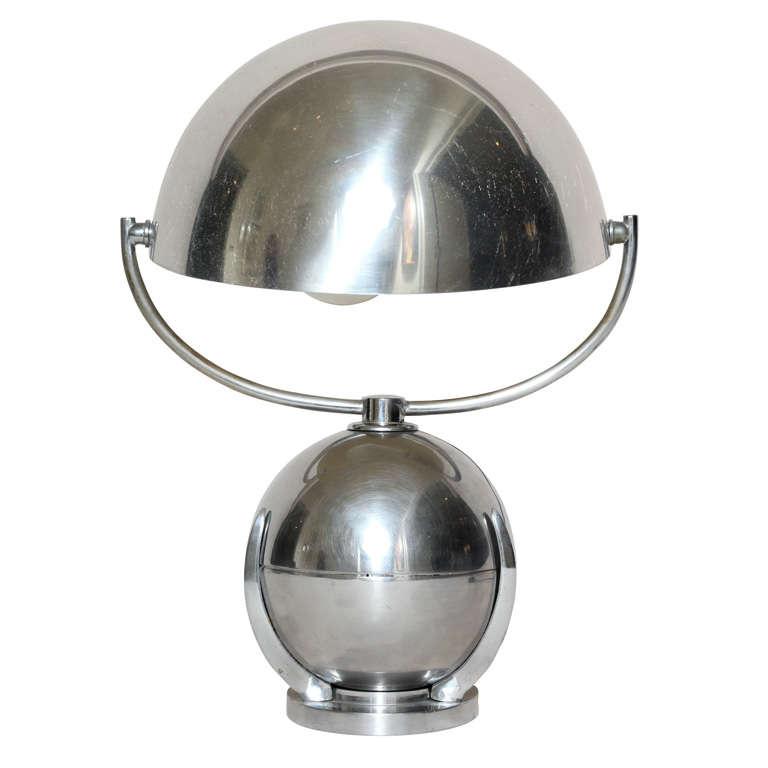 Felix Aublet French Art Deco Boule Nickelled Metal Desk Lamp