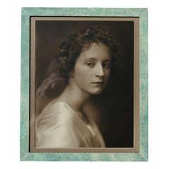 Large English Art Deco Green Shagreen Photograph Frame