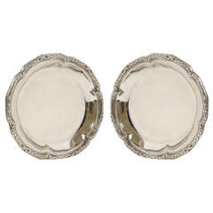 Amelie Cardeilhac French Art Deco Pair of Sterling Silver Wine Coasters