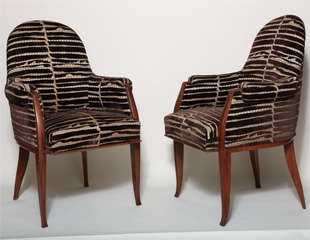 Art Deco Pair of Rosewood Armchairs by Émile-Jacques Ruhlmann thumbnail 2