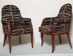 Art Deco Pair of Palissander Armchairs by Émile-Jacques Ruhlmann image 2