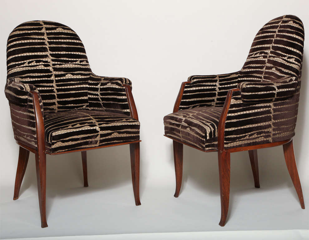 Art Deco Pair of Rosewood Armchairs by Émile-Jacques Ruhlmann image 2