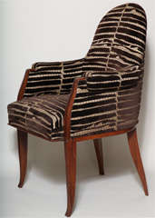 Art Deco Pair of Rosewood Armchairs by Émile-Jacques Ruhlmann thumbnail 3