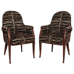 Art Deco Pair of Rosewood Armchairs by Émile-Jacques Ruhlmann thumbnail 1
