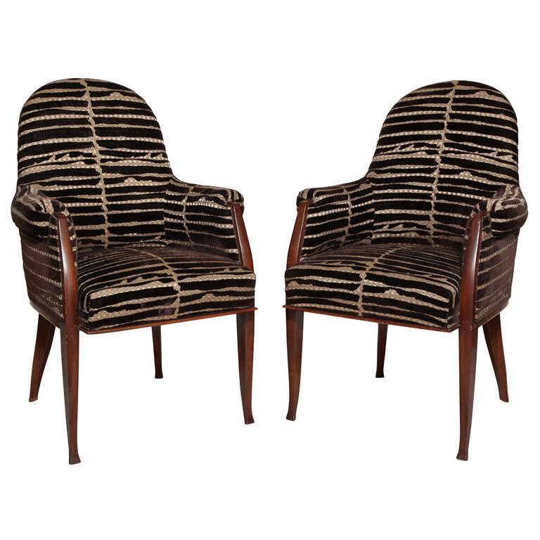 Art Deco Pair of Palissander Armchairs by Émile-Jacques Ruhlmann