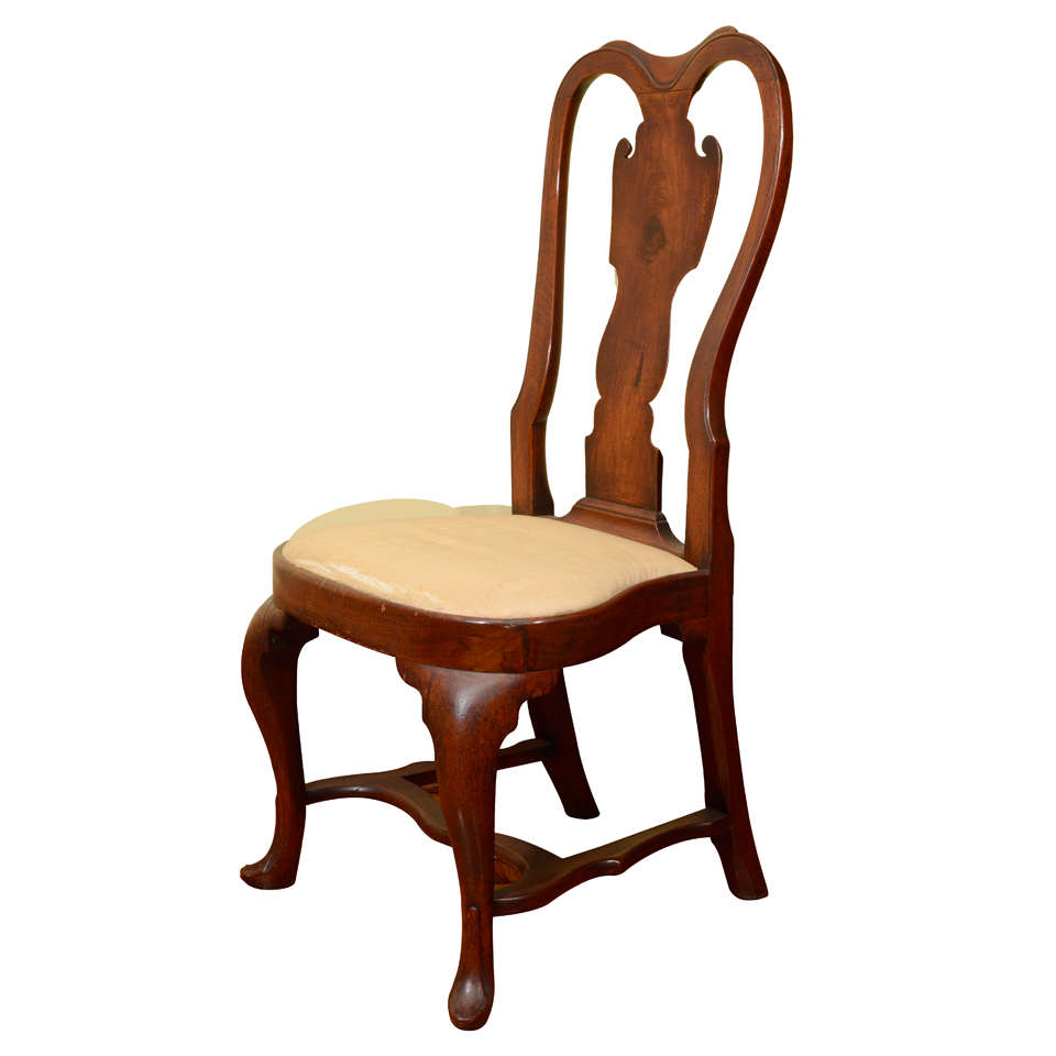 A rare queen anne walnut compass seat side chair for Queen anne furniture