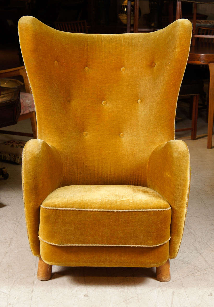 Danish Upholstered High Back Chair Attributed To Flemming