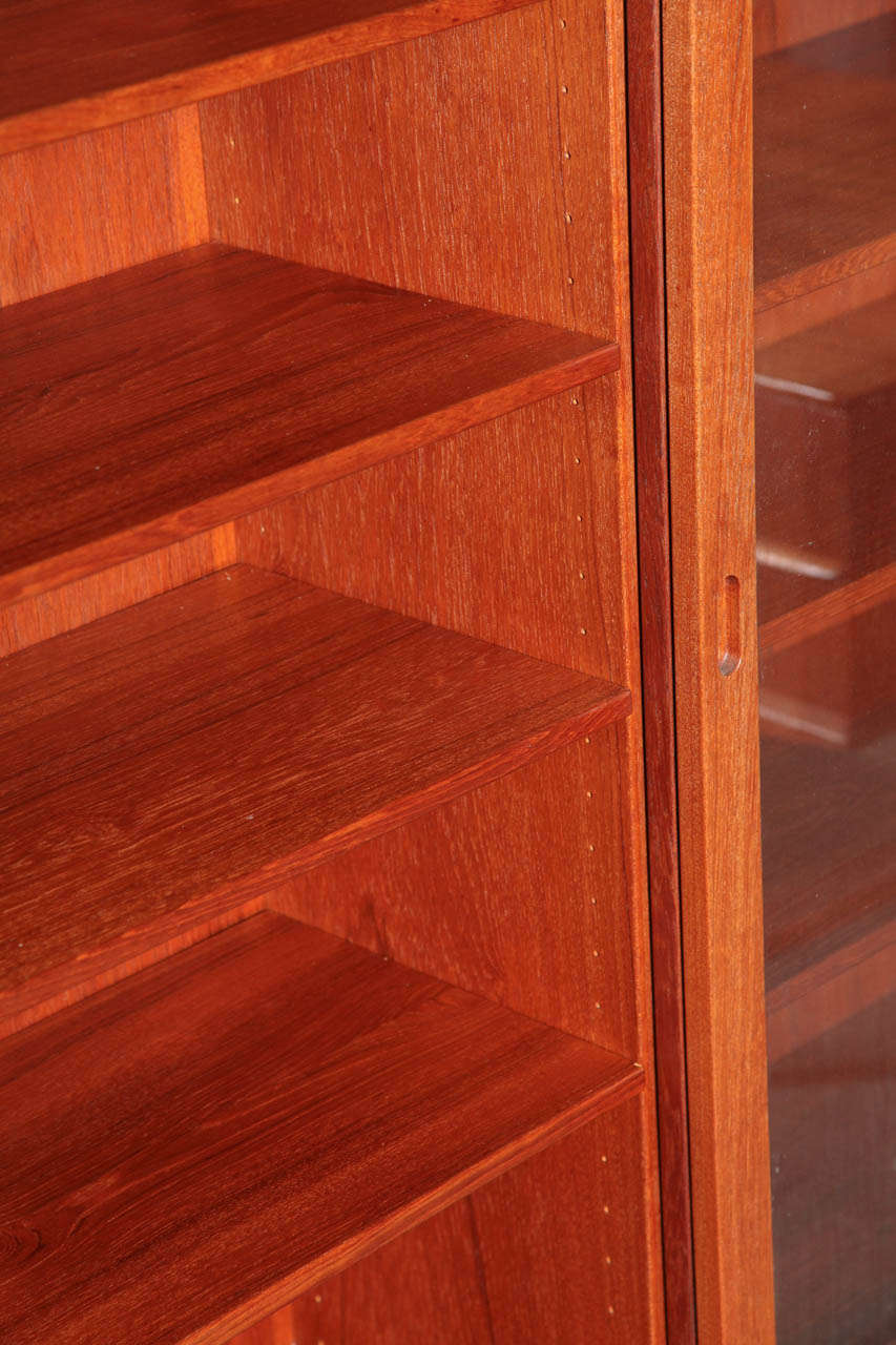 Danish Modern Narrow Teak Cabinet With Glass Doors At 1stdibs