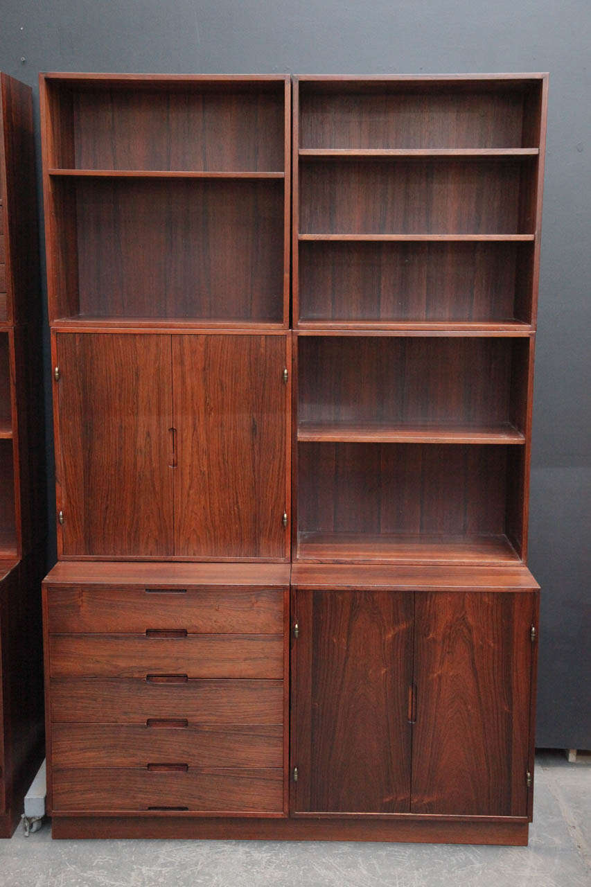 Danish Modern Rosewood Modular Bookcase Wall System By