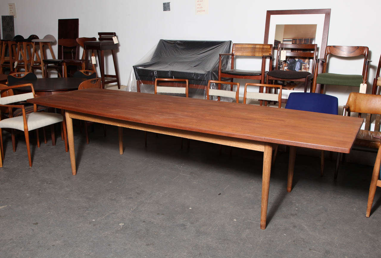 danish modern teak dining conference table with oak legs at 1stdibs