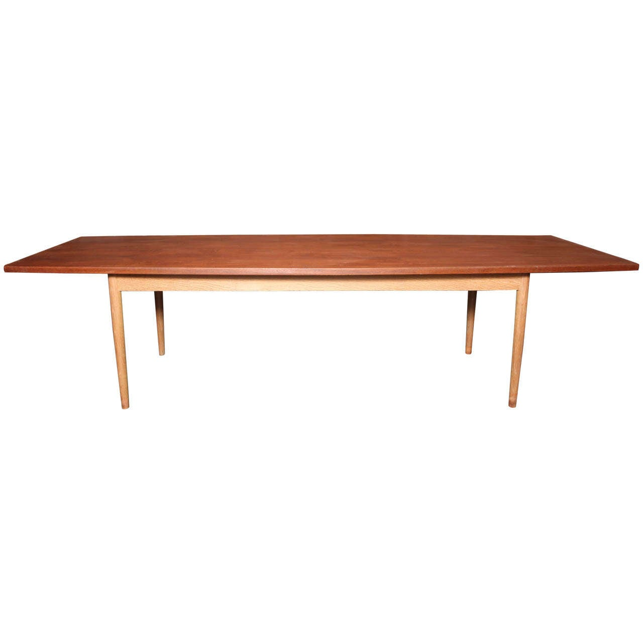 Danish modern teak dining conference table with oak legs for Modern oak dining table