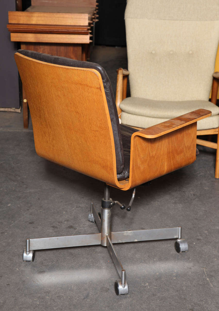 Teak Desk Office Chair With Leather Upholstery By Kevi At