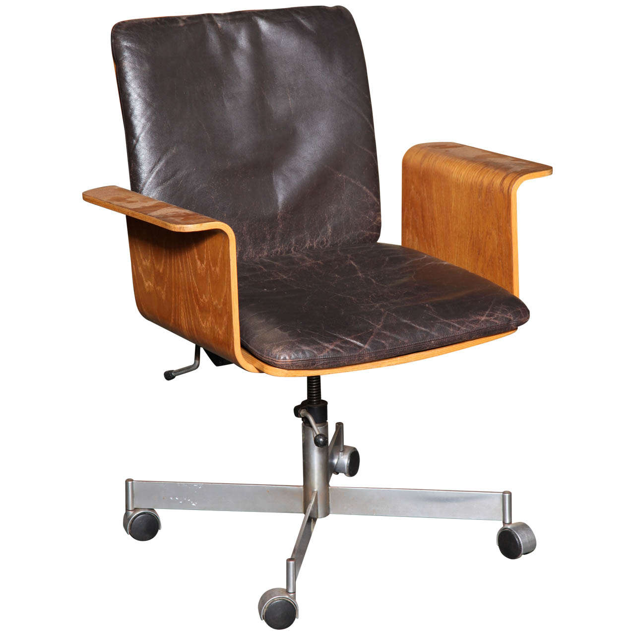Teak Desk Office Chair With Leather Upholstery By Kevi 1