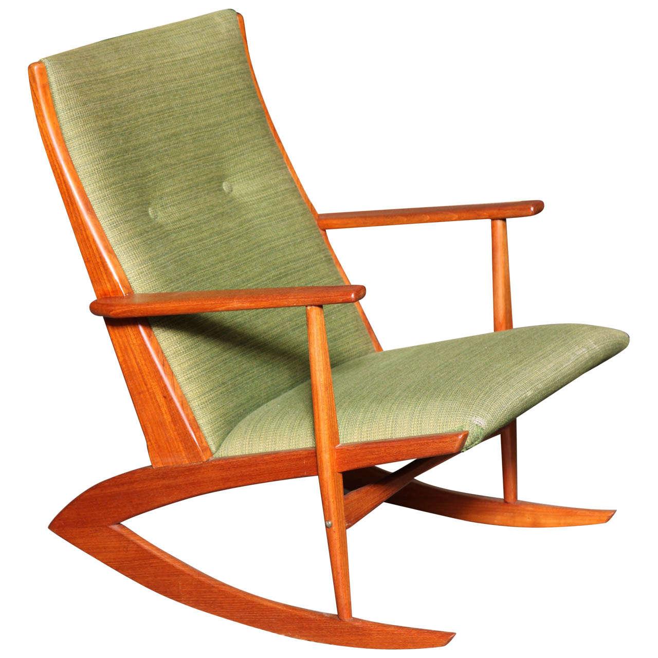 Danish Modern Teak Rocking Chair by Soren Georg Jensen at 1stdibs