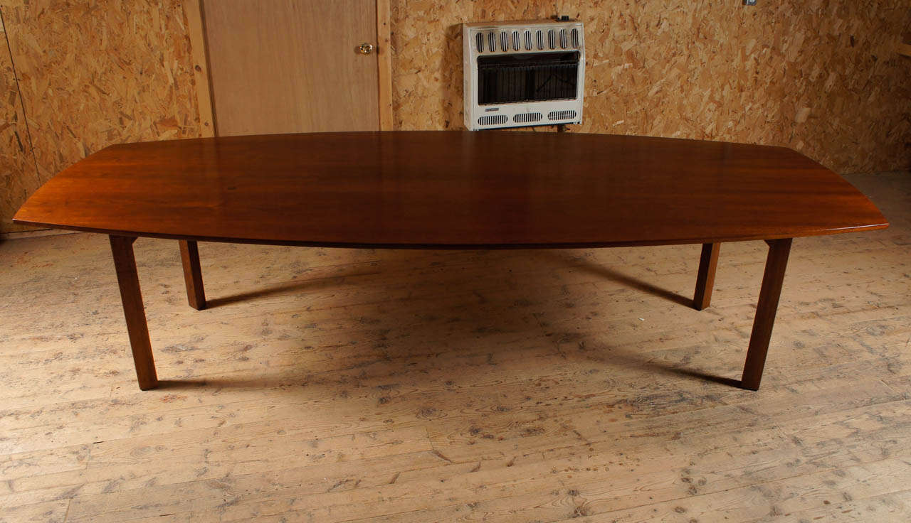 Modern 10 foot long walnut dining table attibuted to jens risom for sale
