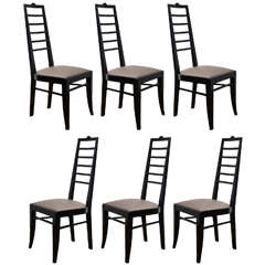 Set of Six High Back Lacquered Chairs, Italy, circa 1940
