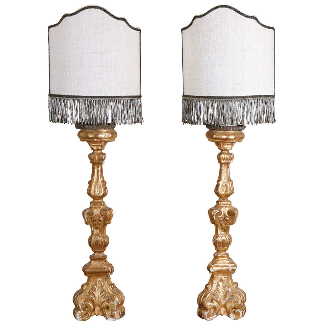Pair of Small French Candlestick Lamps at 1stdibs