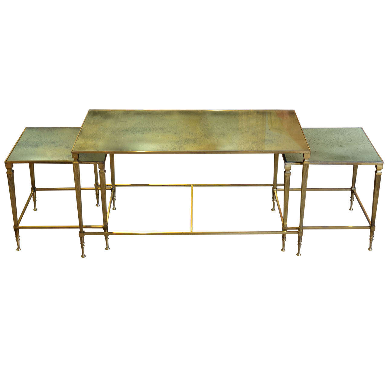 Vintage Brass And Mirrored Coffee Table At 1stdibs