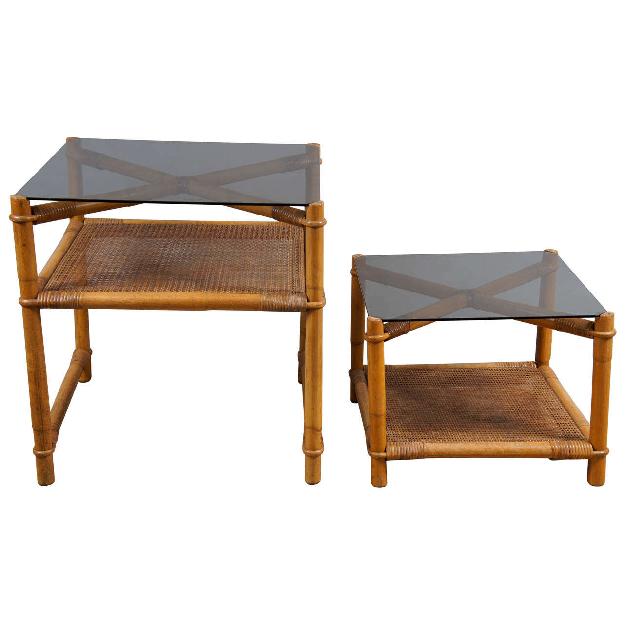 Faux bamboo and rattan end tables at 1stdibs for Bamboo side table