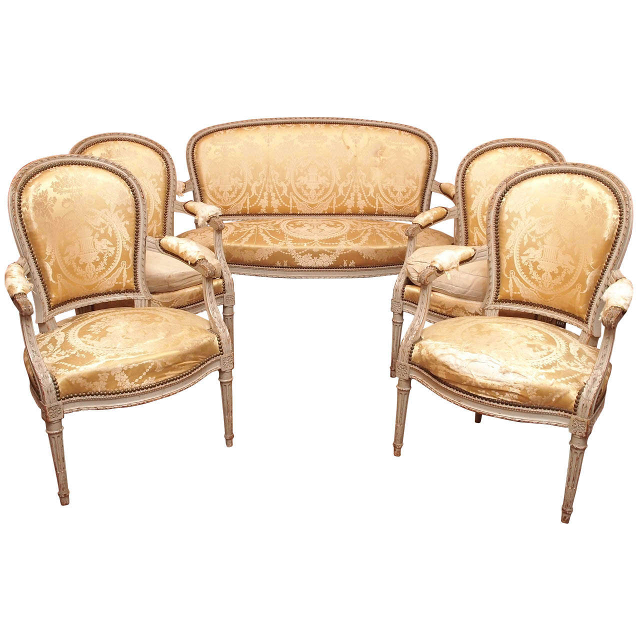 Charmant Salon Style Louis 16 #8: Louis XVI Style Painted Salon Set 1