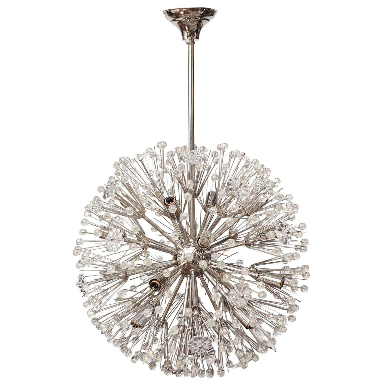 1940s Round Crystal Nickel Plated Chandelier At 1stdibs