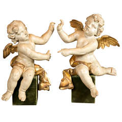 A Pair of Mid 18th Century Italian Angel Sculptures