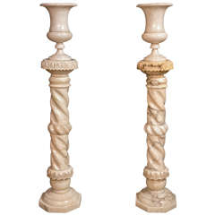 Pair of Early 20th Century Marble Vases and Pedestals