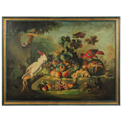 Classical Still Life with Birds and Fruit Painting