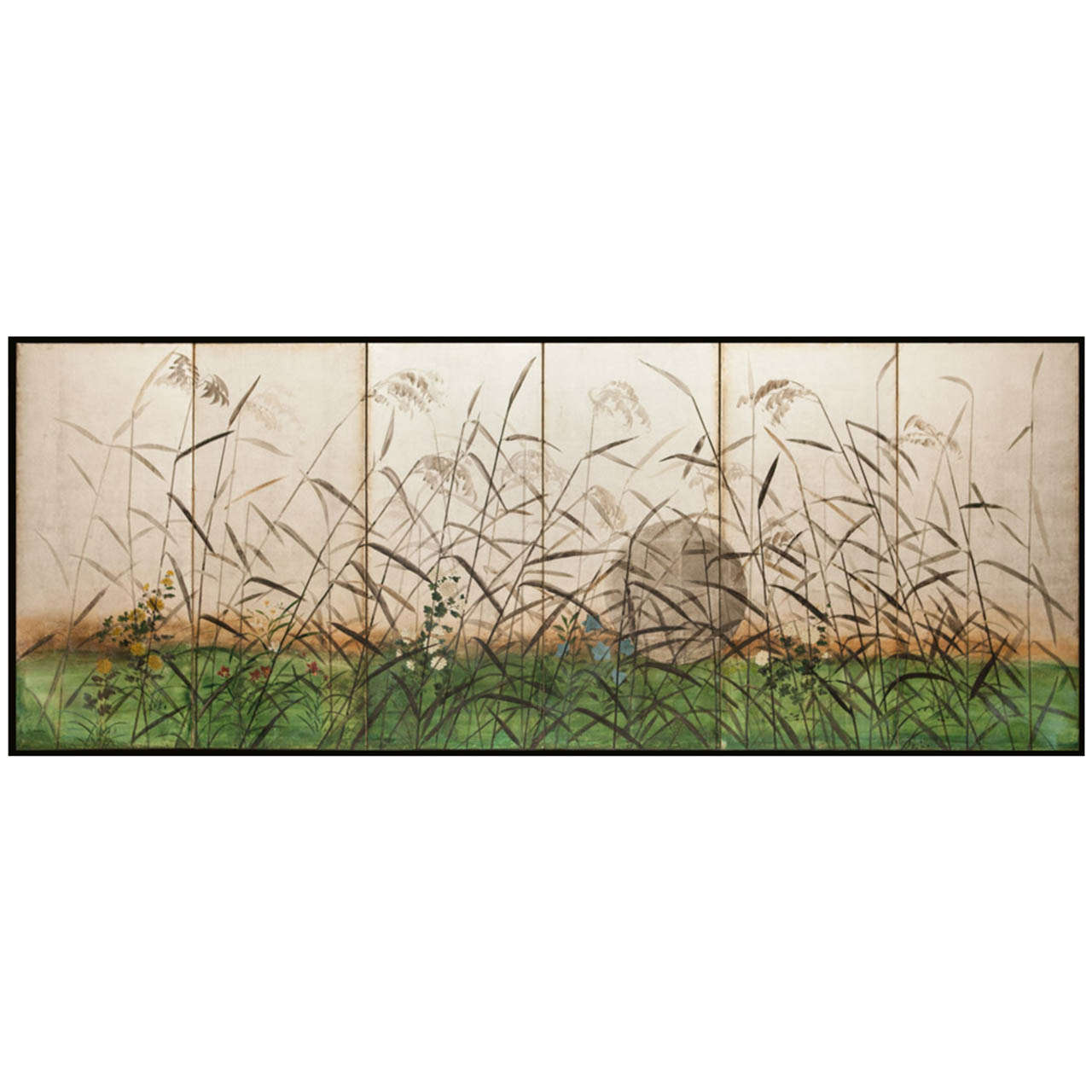 Antique japanese screens for sale - Japanese Six Panel Screen Moon And Wild Grasses On Silver 1