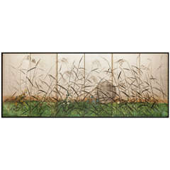 """Japanese Six Panel Screen """"Moon and Wild Grasses on Silver"""""""