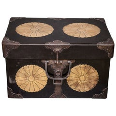 Japanese Black Lacquer Fabric Storage Box with Gold Chrysanthemum Crests