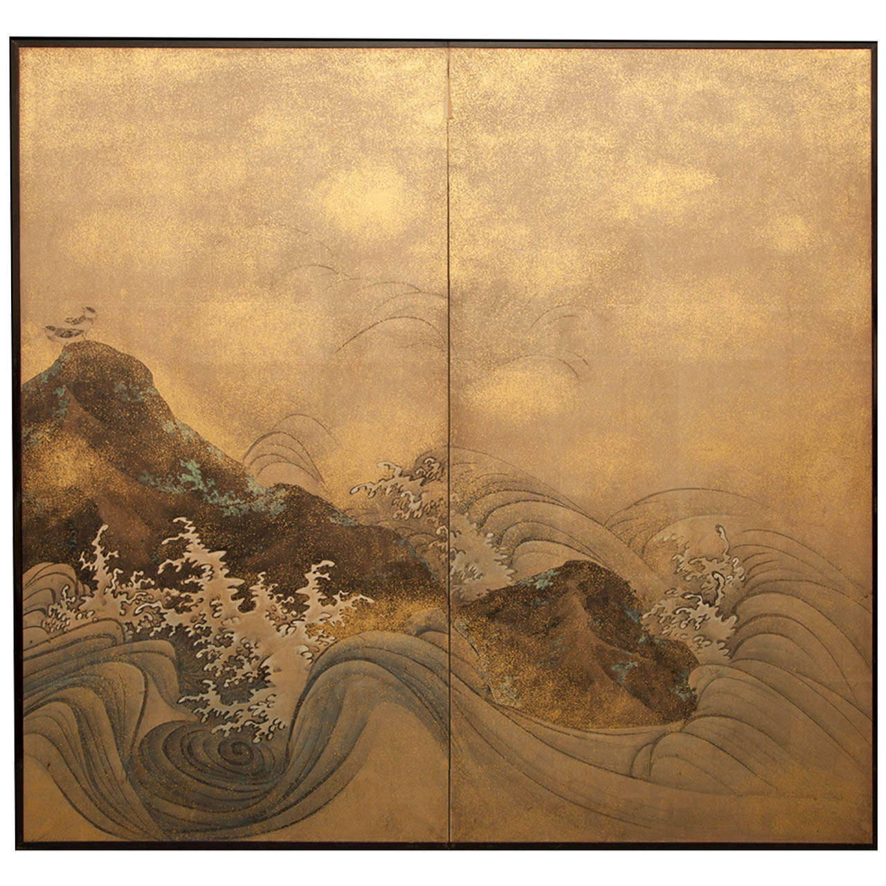 Antique japanese screens for sale - Japanese Two Panel Screen Rocks And Waves With Plovers 1