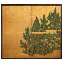 Japanese Two-Panel Screen Cedar on Gold with Stylized Clouds