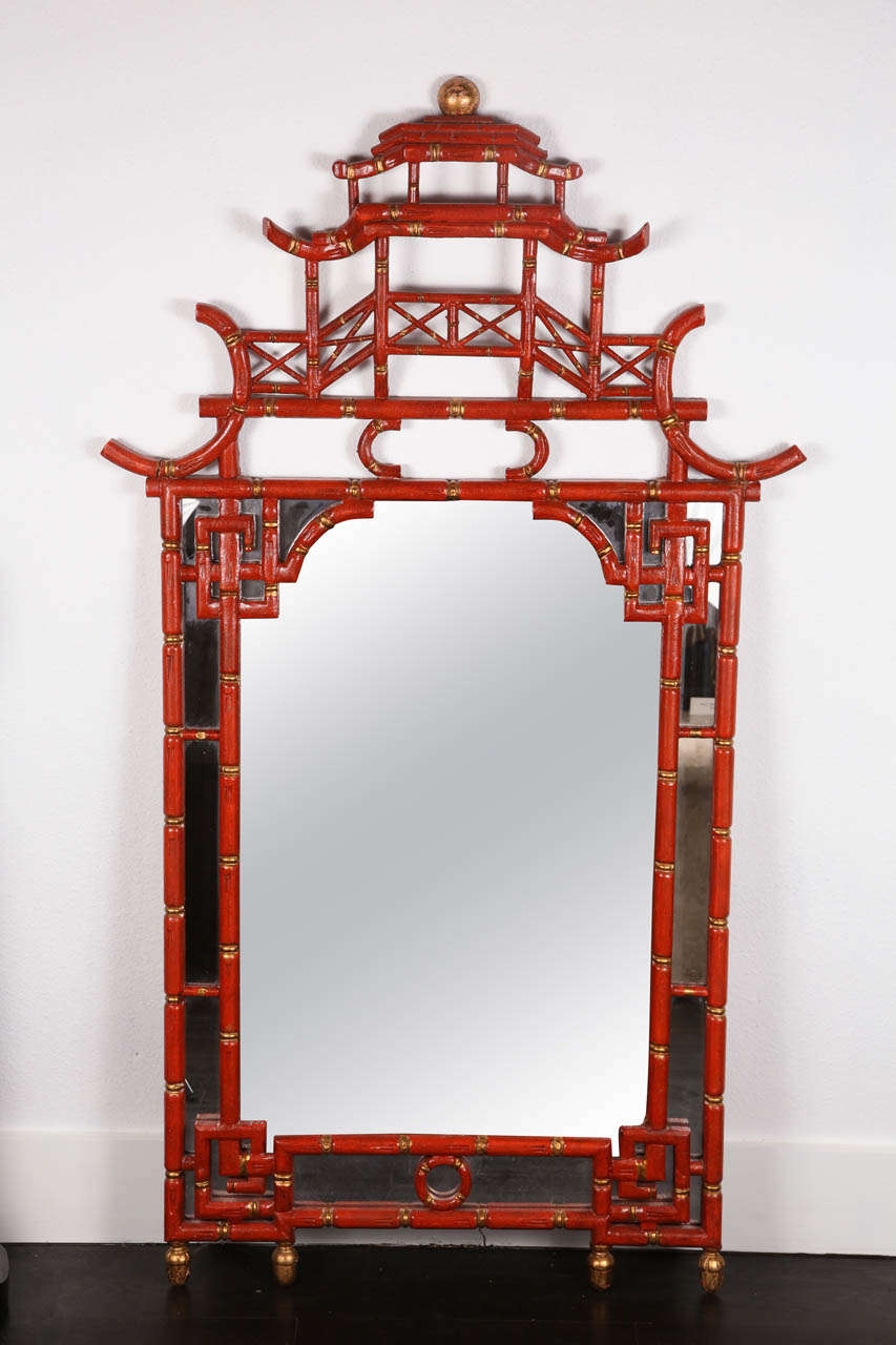 1960 39 s chinese chippendale style pagoda mirror at 1stdibs for Asian style mirror
