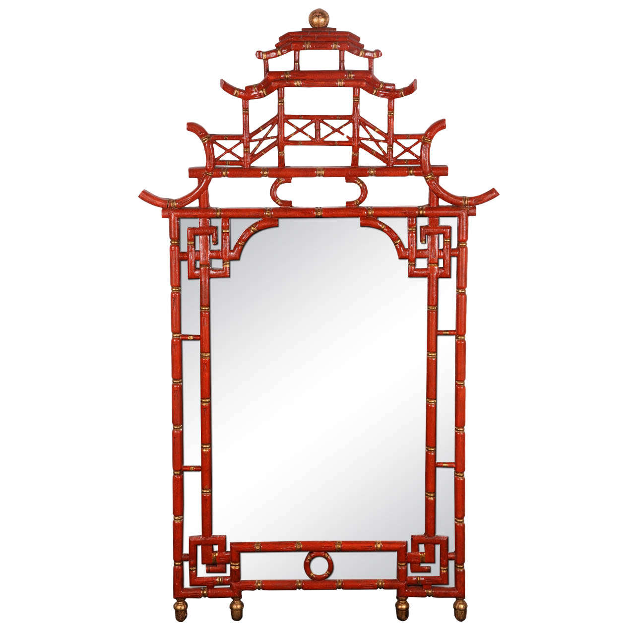 1960 39 s chinese chippendale style pagoda mirror at 1stdibs for Furniture and mirror