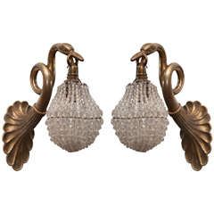 Pair Of Bronze And Crystal Wall Sconces. Maison Bagues Attribution.
