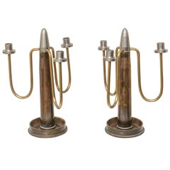 Midcentury, WWII Pair of Trench-Art, Shell Casing Three-Arm Candlesticks