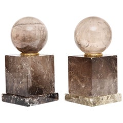 Pair of French Smokey Rock Crystal Orbs or Spheres on Plinths with Gilt Bronze