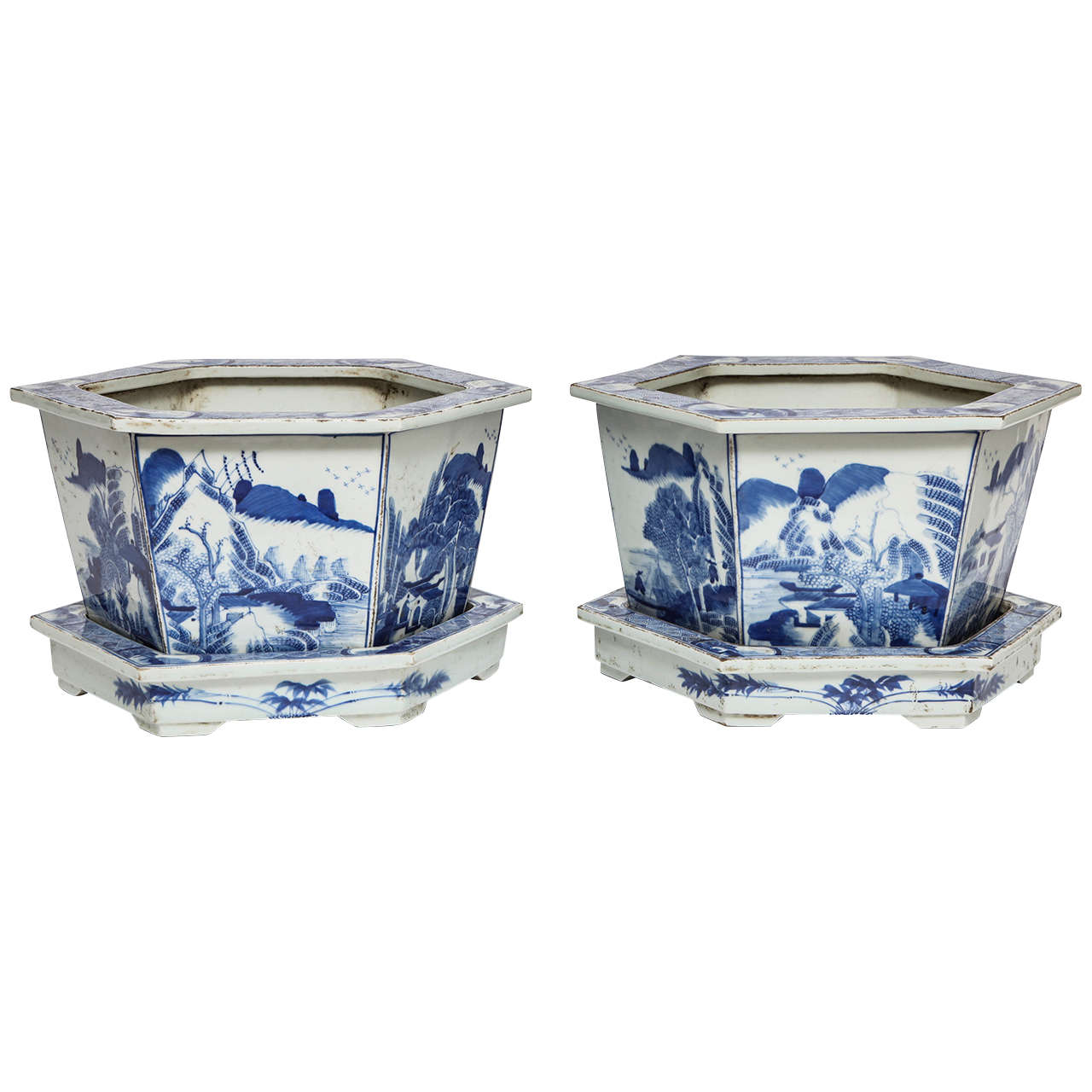 Pair of Chinese Blue and White Porcelain Jardinieres on Stands, 19th Century