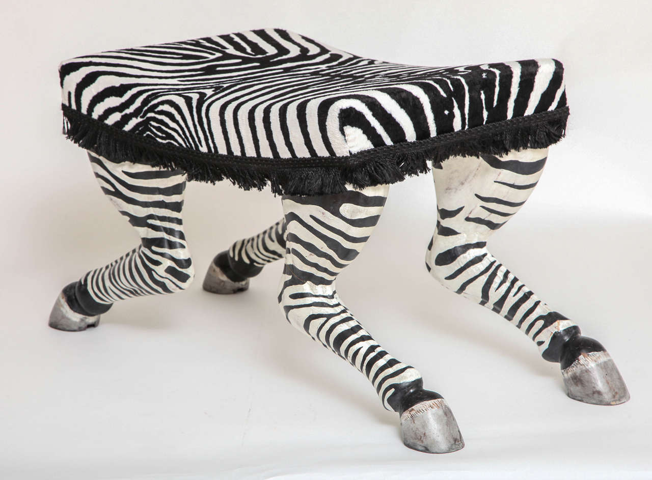 pair of french art deco carved and painted wood zebra stools possibly by jansen at 1stdibs. Black Bedroom Furniture Sets. Home Design Ideas